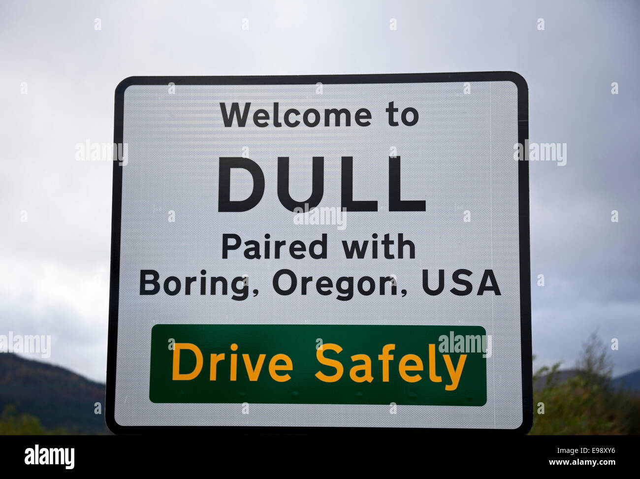 Road Sign for Dull, Perth and Kinross Perthshire Scotland - Stock Image