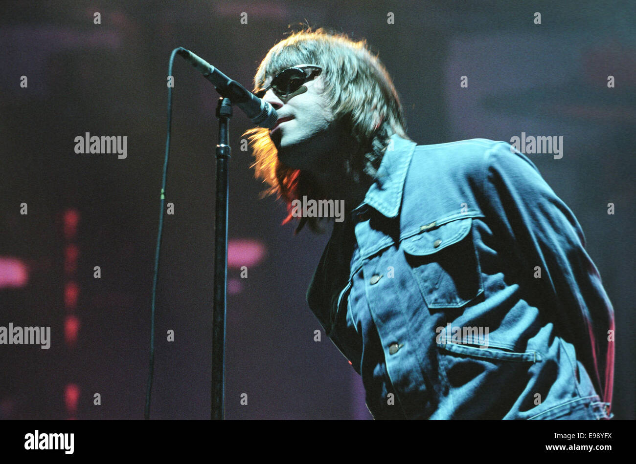 Liam Gallagher of Oasis on stage in concert at 'Rock On The Green', in Glasgow, Scotland, in August 2000. - Stock Image