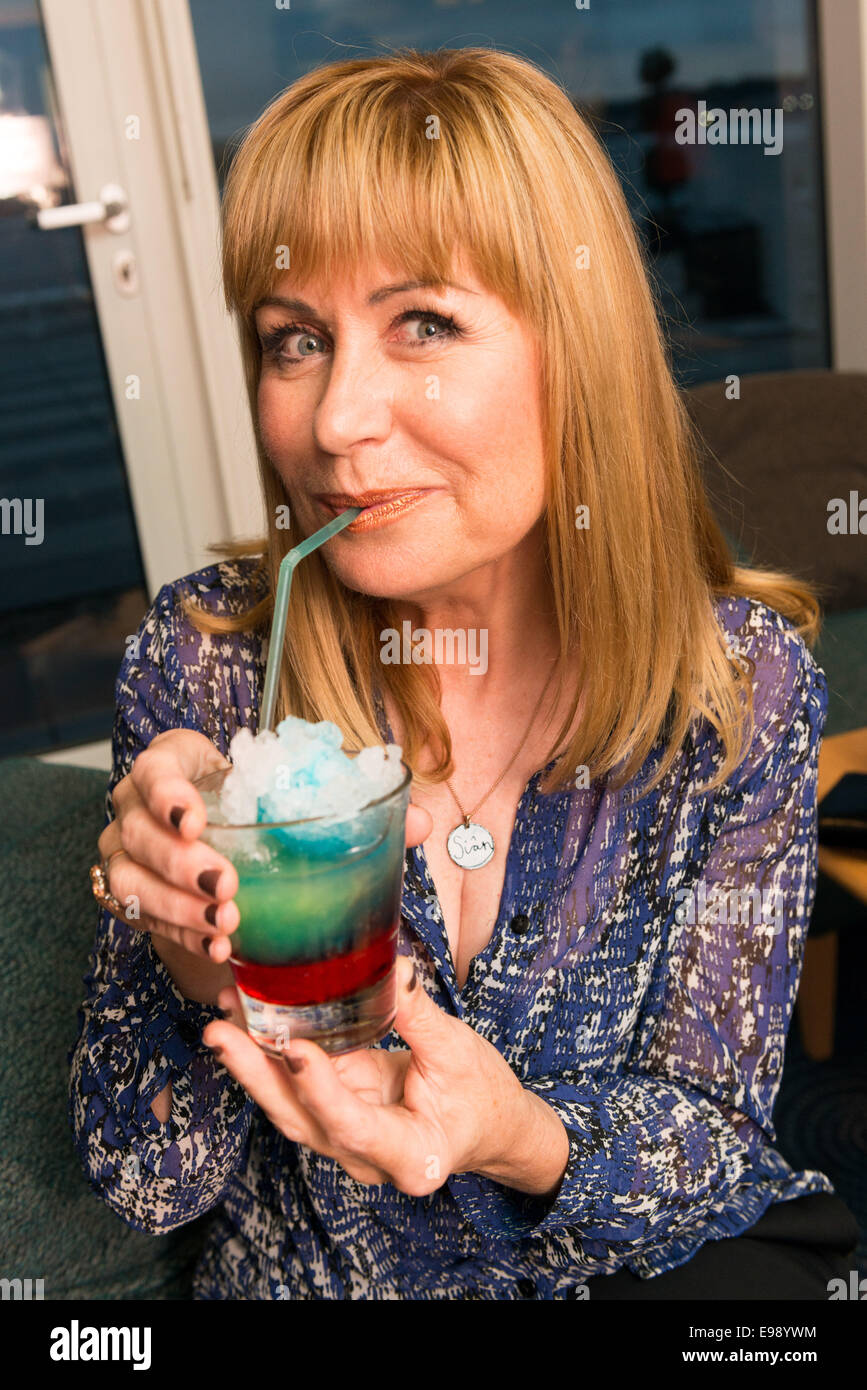 TV weather presenter Sian Lloyd pictured at the charity cocktail launch in aid the cancer charity Tenovus. - Stock Image