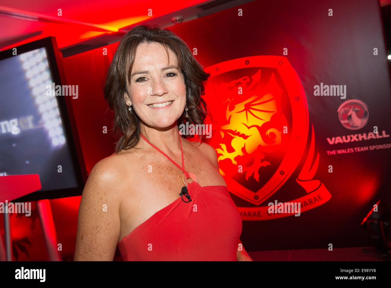 Football Association of Wales Awards Dinner 2014, St David's Hotel, Cardiff. TV presenter Frances Donovan. - Stock Image