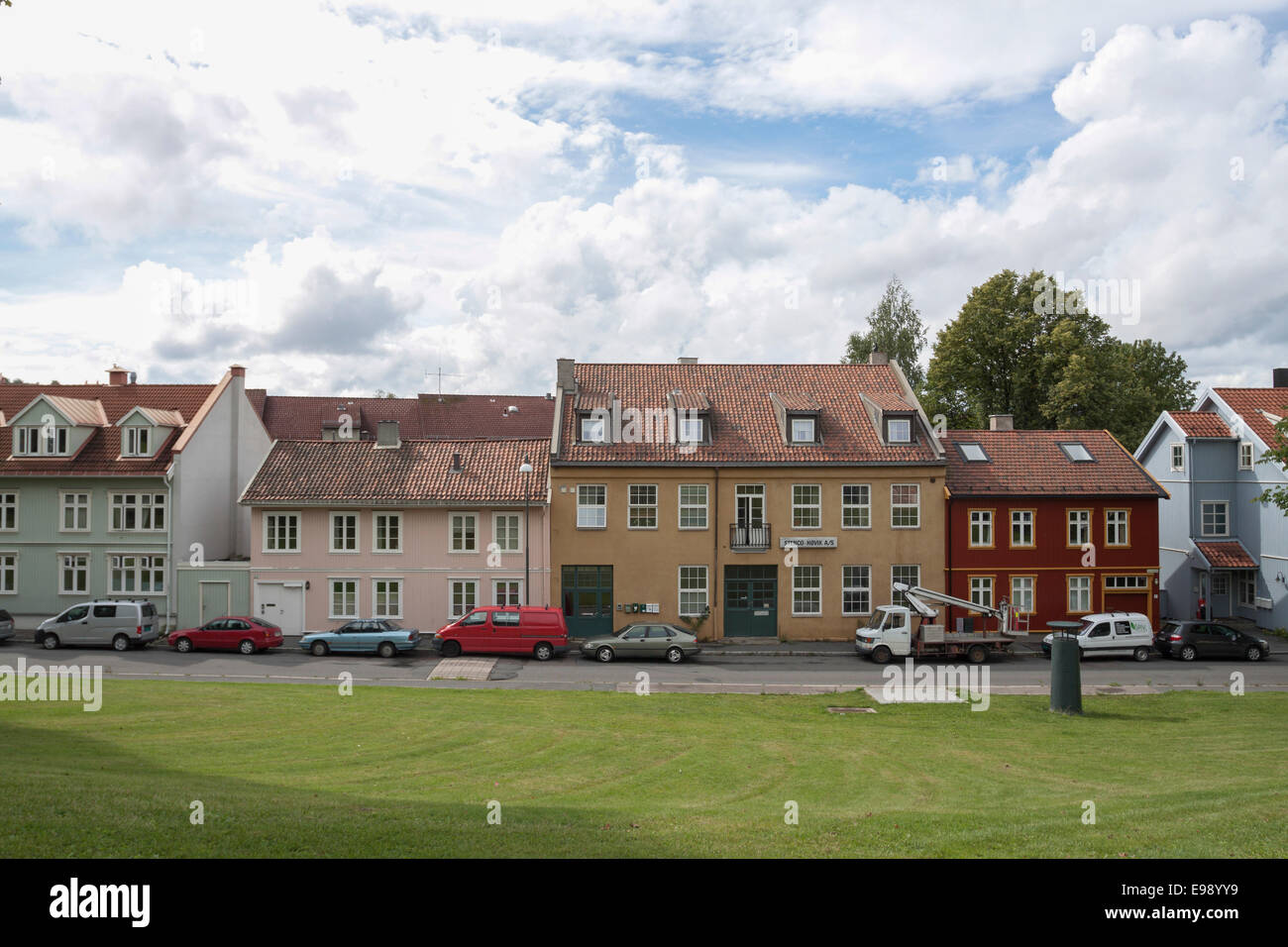 Tranquil view of nordic houses and cloudy sky. Oslo, Ostlandet. Norway Stock Photo