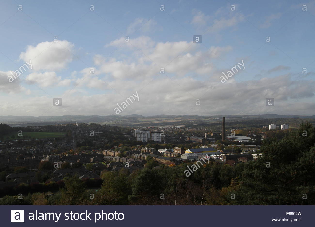 Elevated view of Lochee Dundee from Dundee Law Scotland  October 2014 - Stock Image