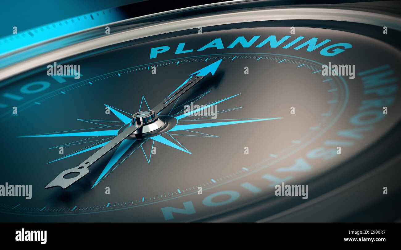 Compass with needle pointing the word planning, concept image to illustrate business plan and strategy. - Stock Image