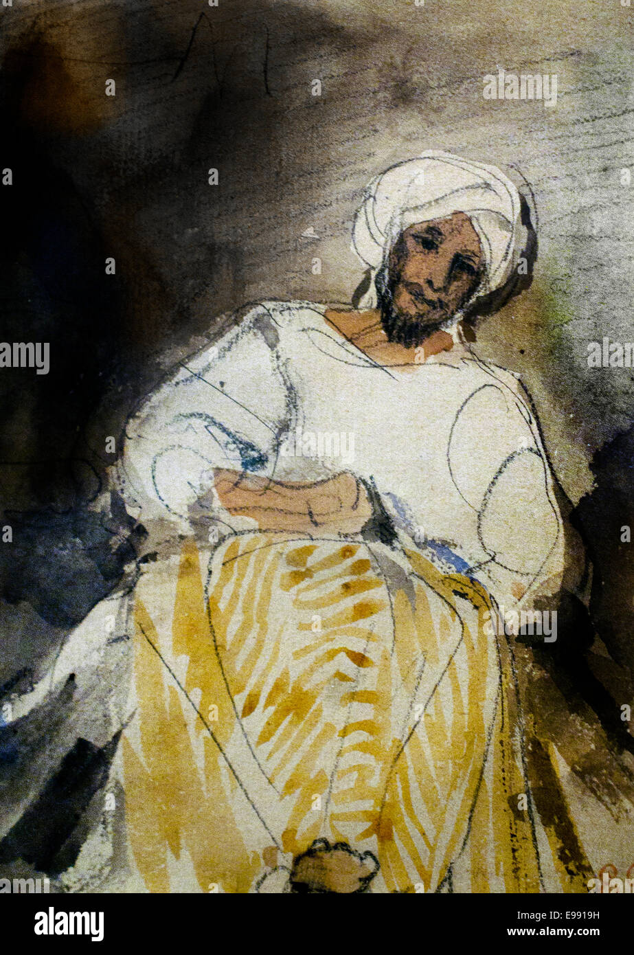 Sitting Moroccan 1832  Eugene Delacroix 1798 - 1863 France French Stock Photo