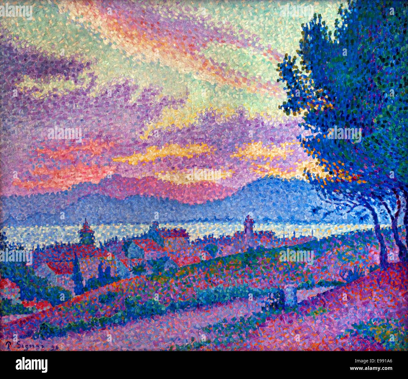 Vue de Saint Tropez, coucher de soleil au bois de Pins ( sunset Wood Pine ) Paul Signac 1863-1935 France French - Stock Image