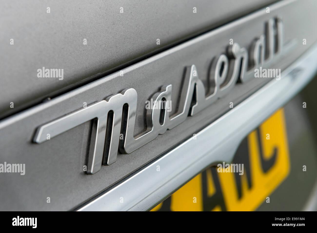A Maserati Ghibli sports saloon car photographed at Penarth Marina, South Wales. - Stock Image