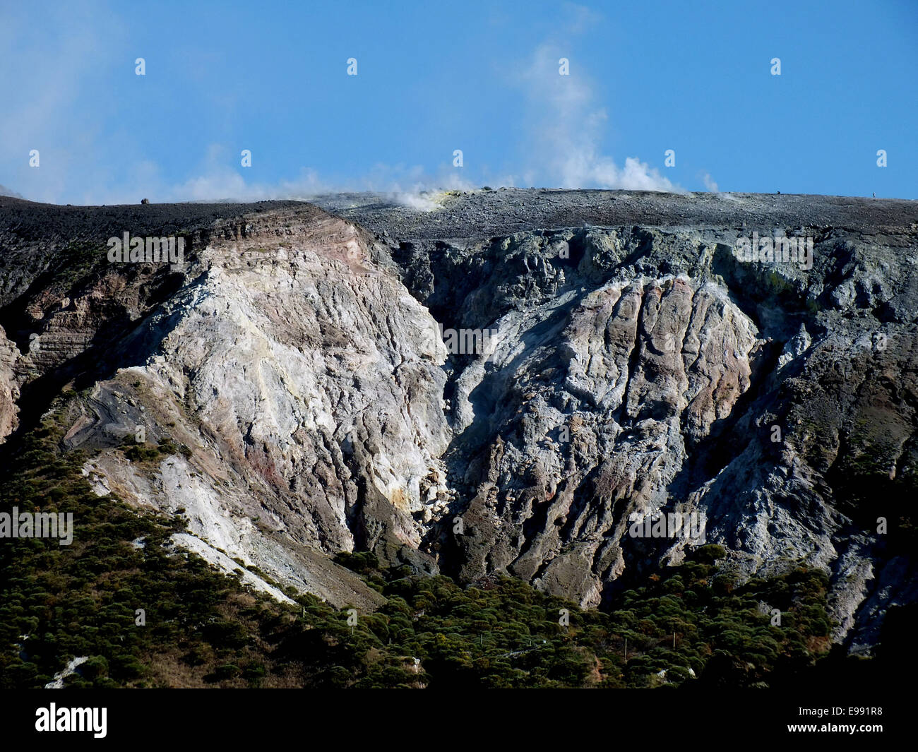The violence of a volcanic eruption can be admired on Vulcano even after 300 years at the fossa 1. - June 2014 - Stock Image