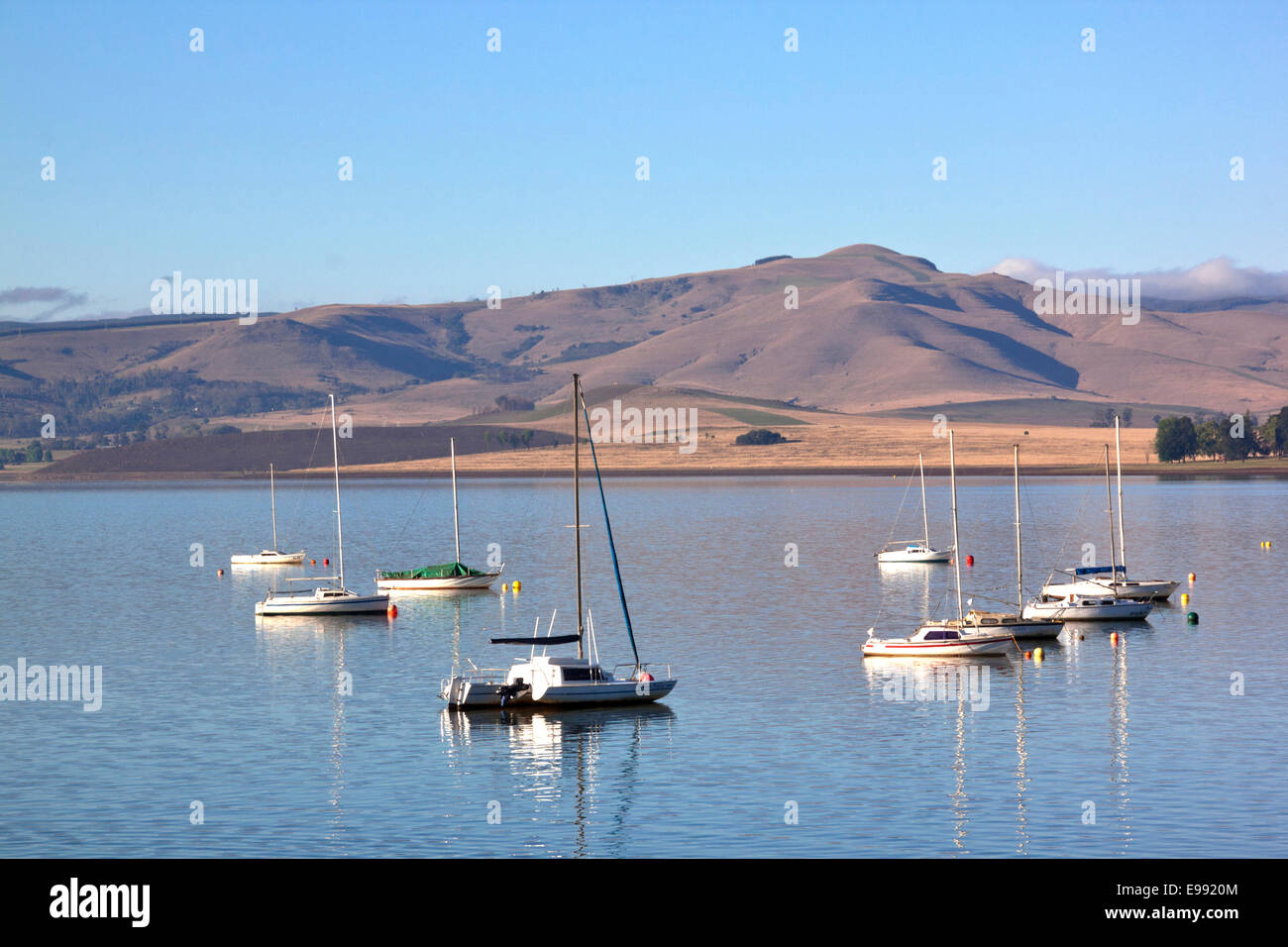 Yachts moored on the Midmar dam in the Natal midlands, Howick, KwaZulu-Natal South Africa Stock Photo