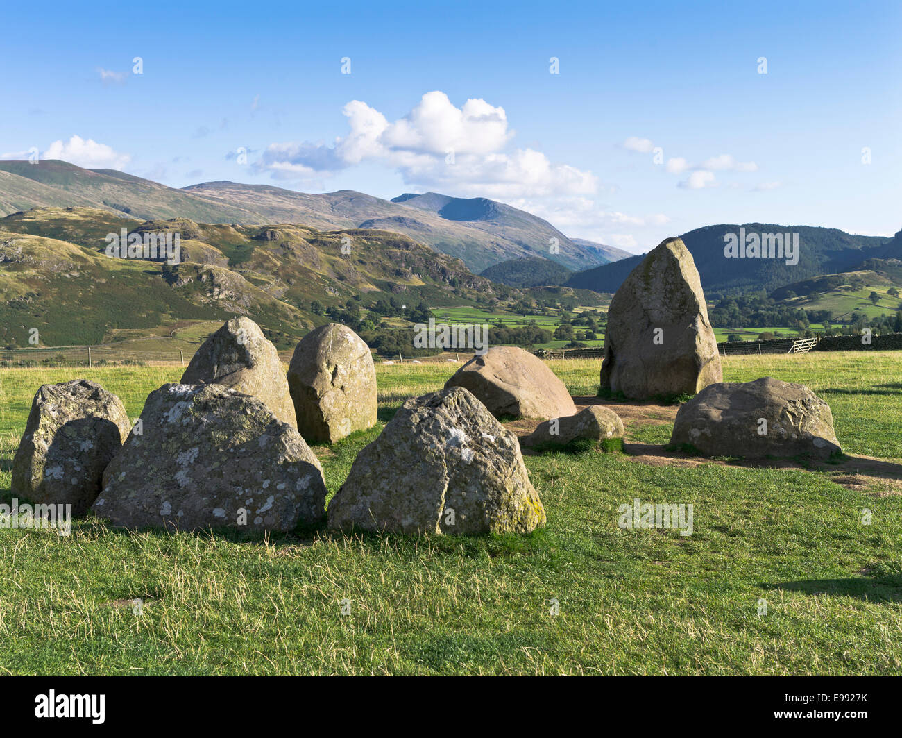dh Castlerigg Stones KESWICK LAKE DISTRICT Neolithic standing stone site overlooking Cumbria valley stone age sites - Stock Image