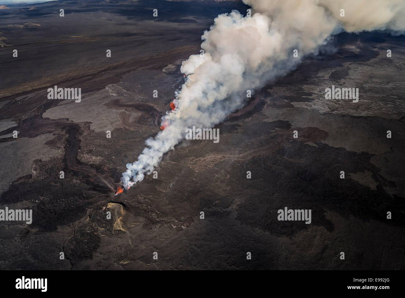 Lava and plumes from the Holuhraun Fissure by the Bardarbunga Volcano, Iceland. - Stock Image