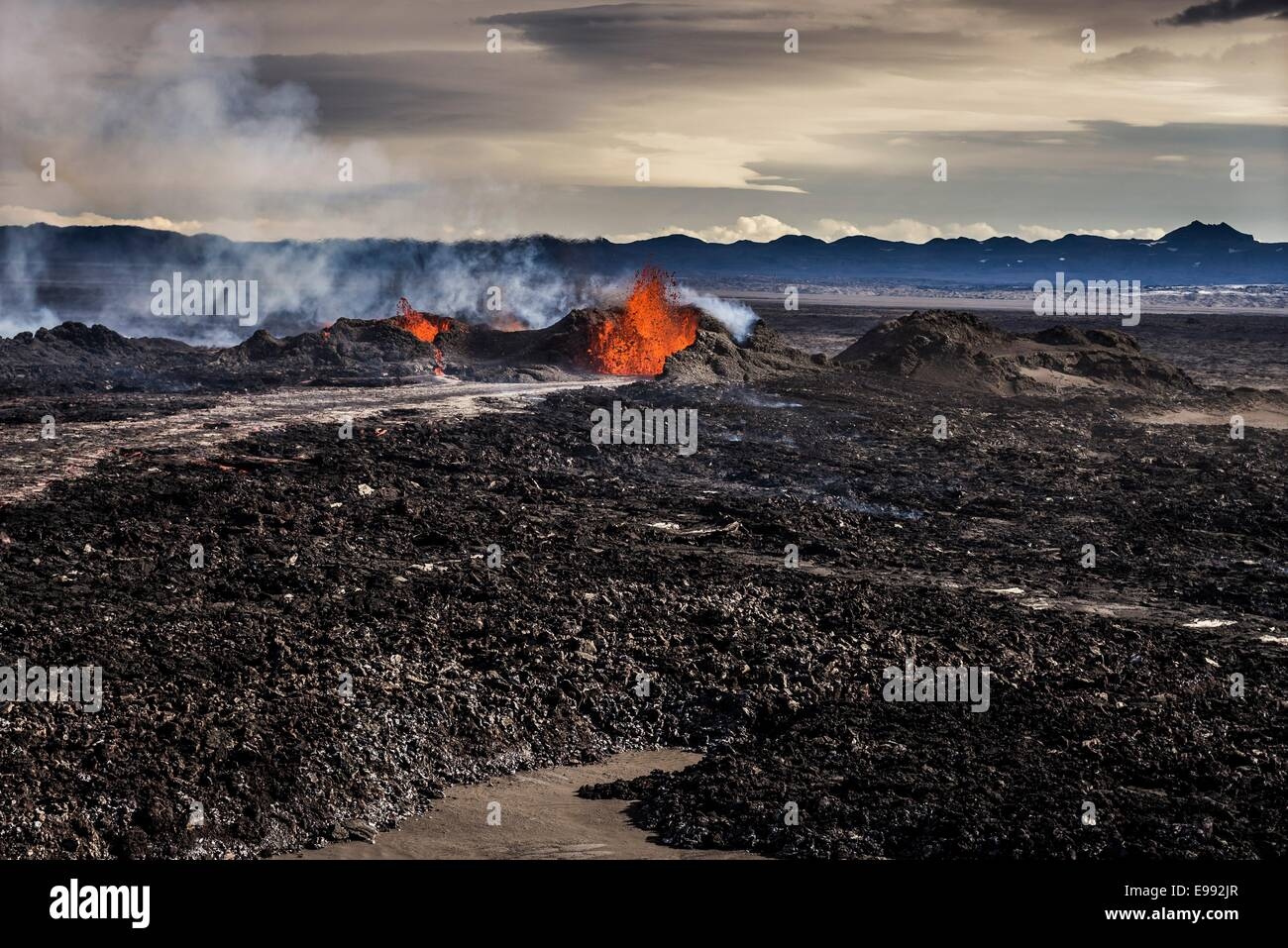 Lava and plumes from the Holuhraun Fissure by the Bardarbunga Volcano, Iceland. Stock Photo