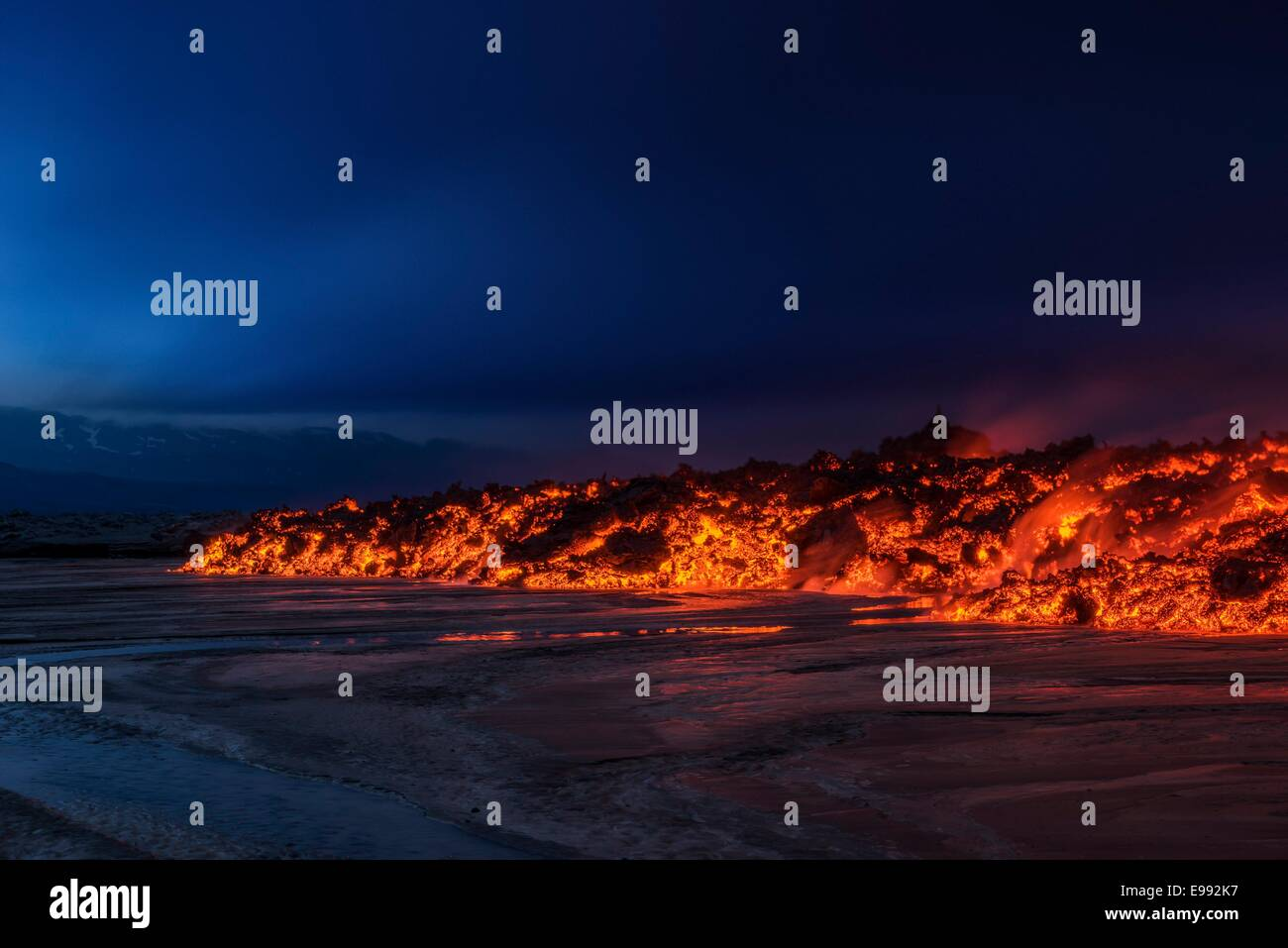 Glowing lava from the eruption at the Holuhraun Fissure, near the Bardarbunga Volcano, Iceland - Stock Image