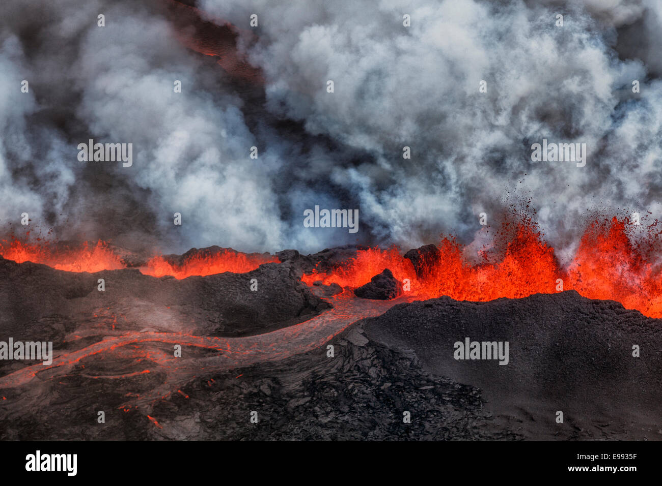 Lava and plumes from the Holuhraun Fissure, Bardarbunga Volcano, Iceland. - Stock Image