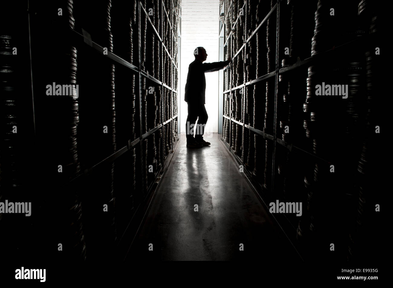 portrait of female member of staff at the BFI archive with storage shelves full of film reels / cartons housing - Stock Image
