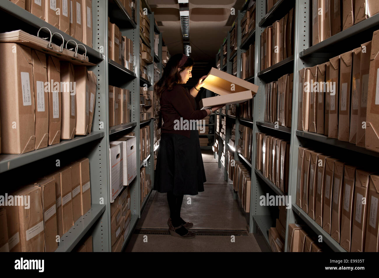 female member of staff at the BFI archive with storage shelves filled with archival boxes holding all kinds of film - Stock Image