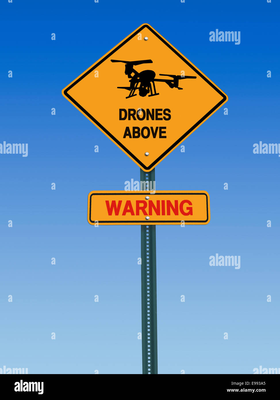 conceptual sign with drone symbol and danger warning over blue sky - Stock Image