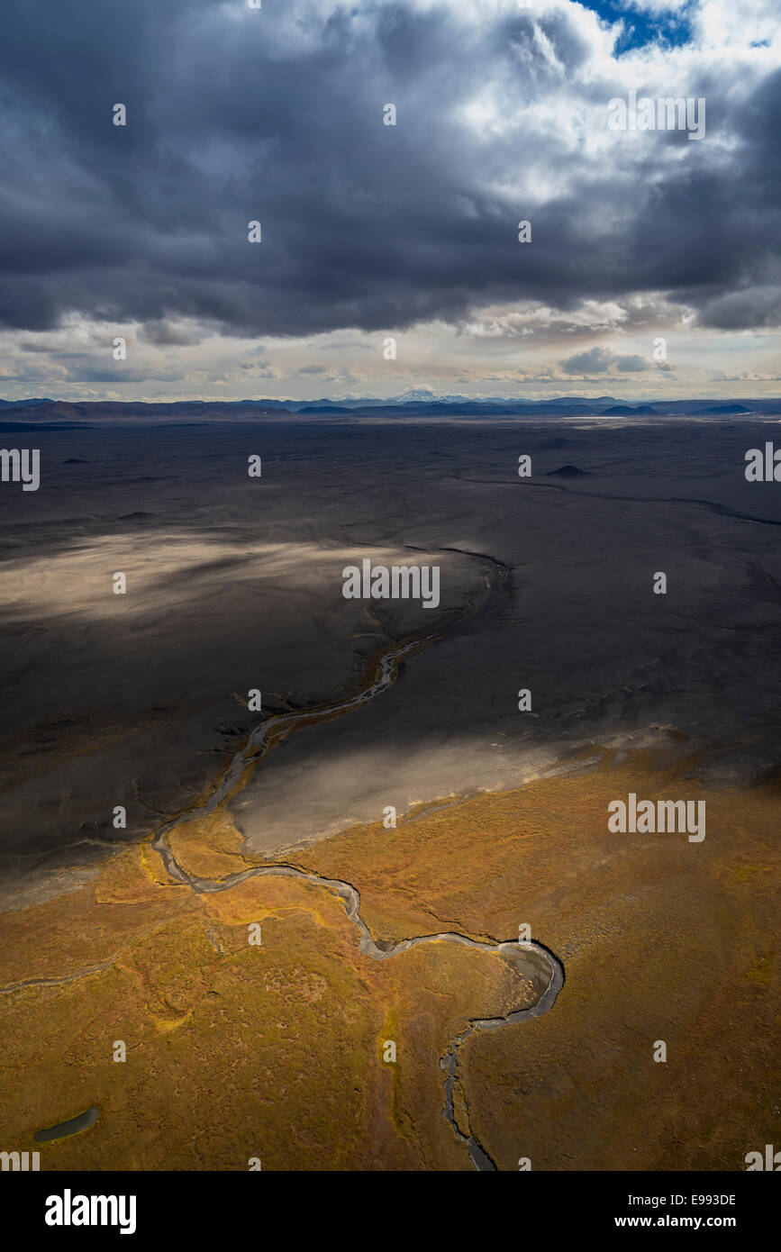 Jokulsa river a fjollum- near the Holuhraun Fissure Eruption by the Bardarbunga Volcano, Iceland - Stock Image