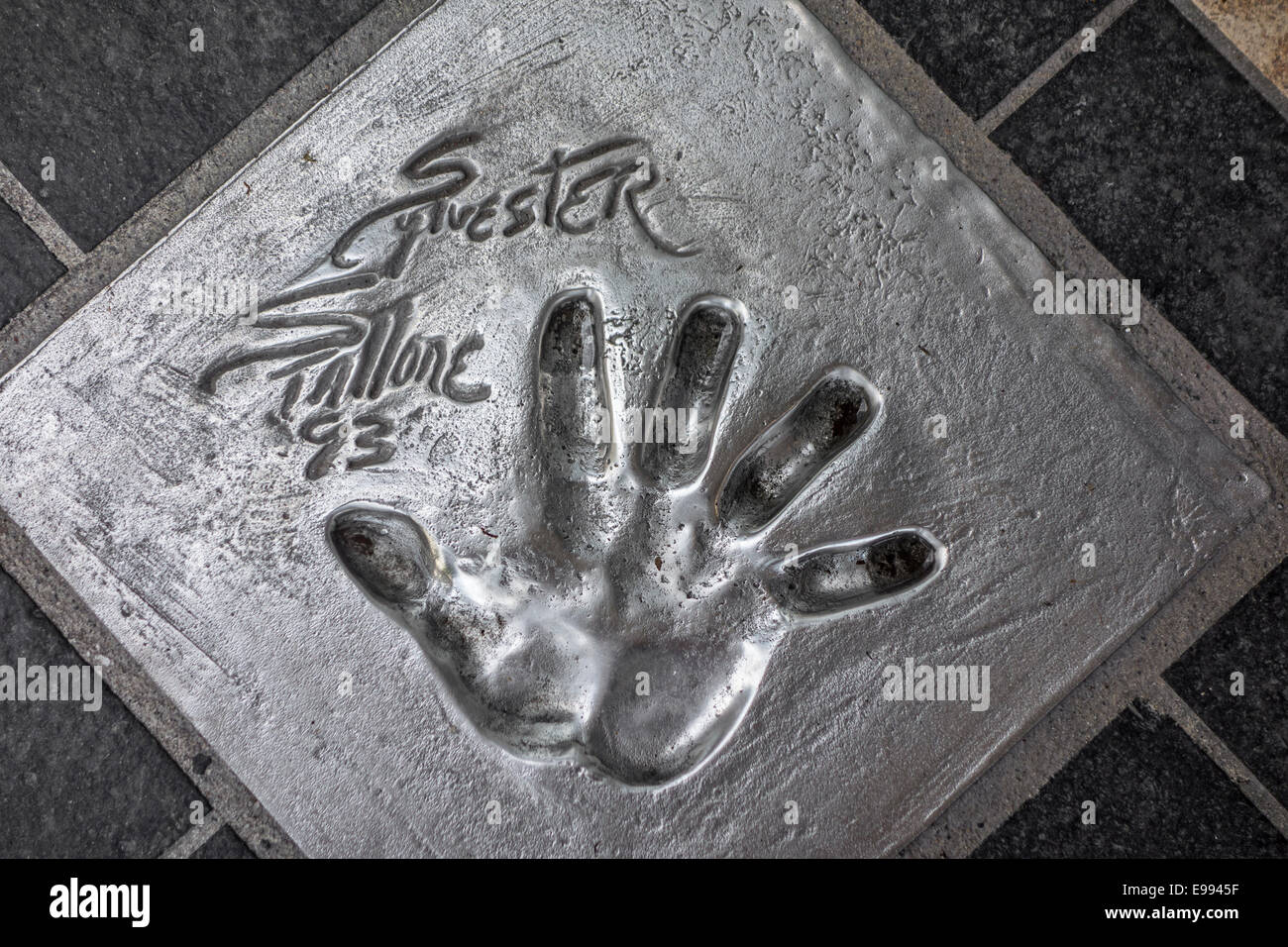 Handprint of American actor Sylvester Stallone at the Esplanade Georges Pompidou in the city Cannes, French Riviera, - Stock Image