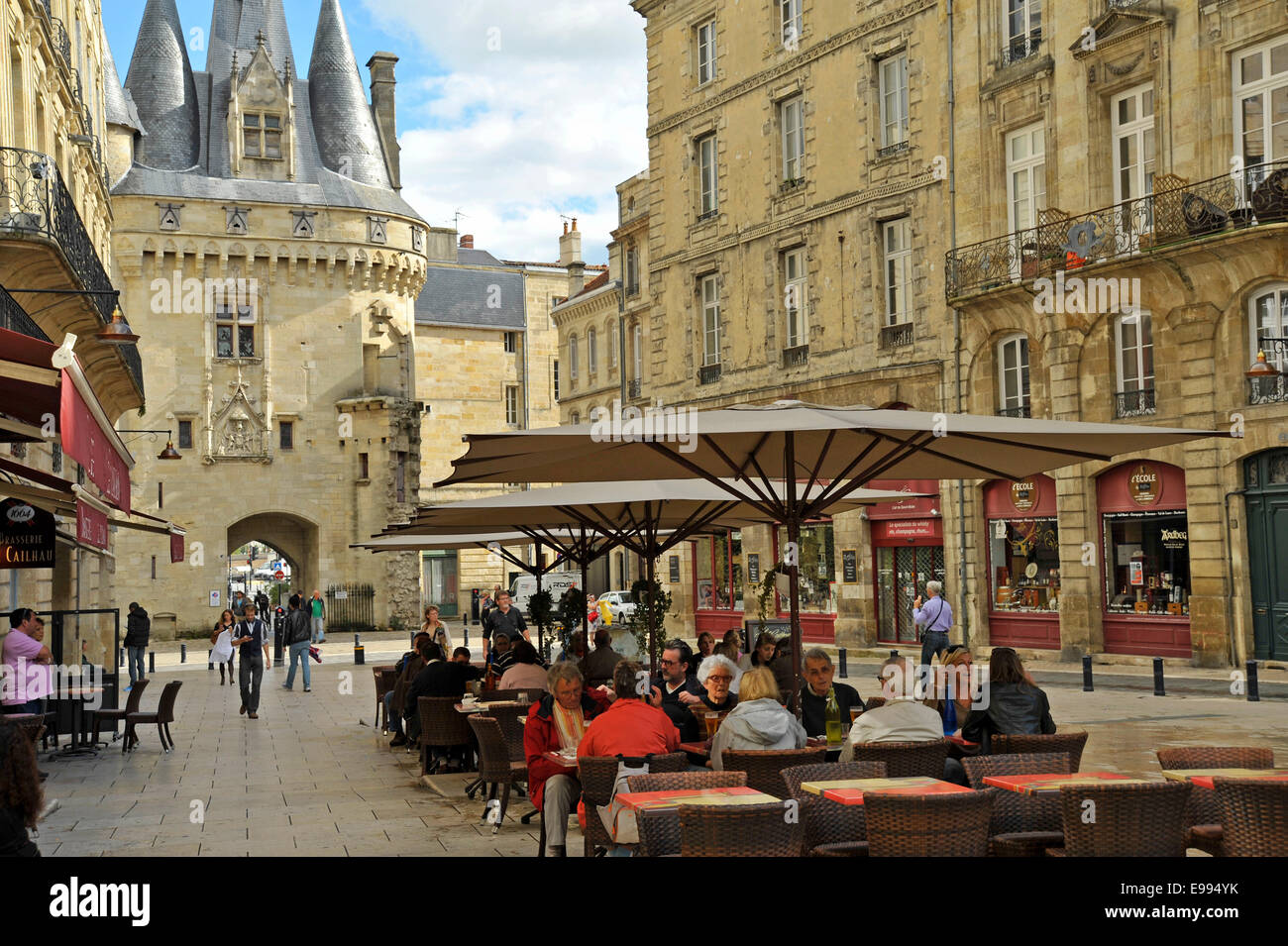 cafe scene in bordeaux city center france stock photo 74574855 alamy. Black Bedroom Furniture Sets. Home Design Ideas