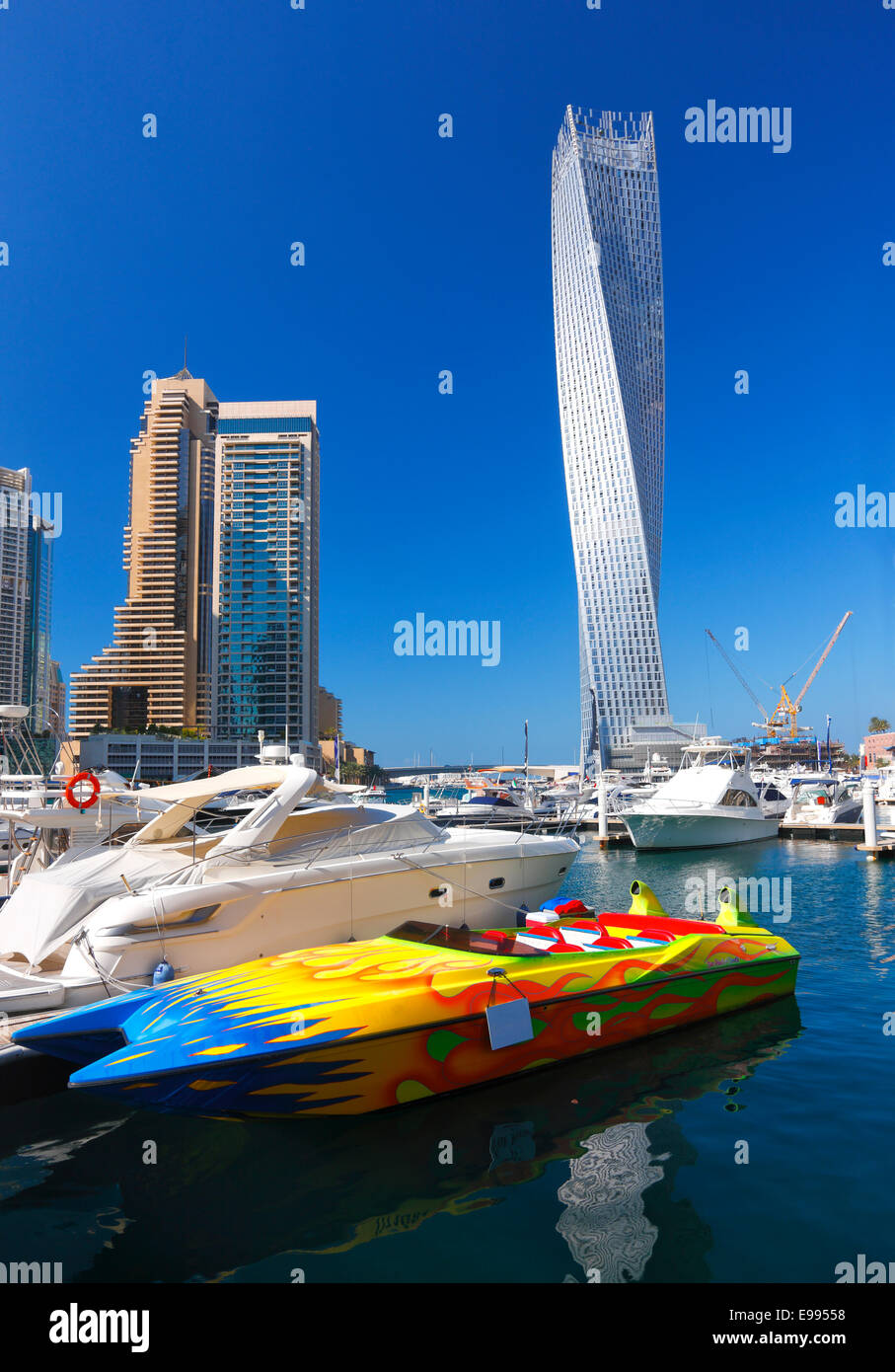 Dubai Marina with Cayan tower - Stock Image