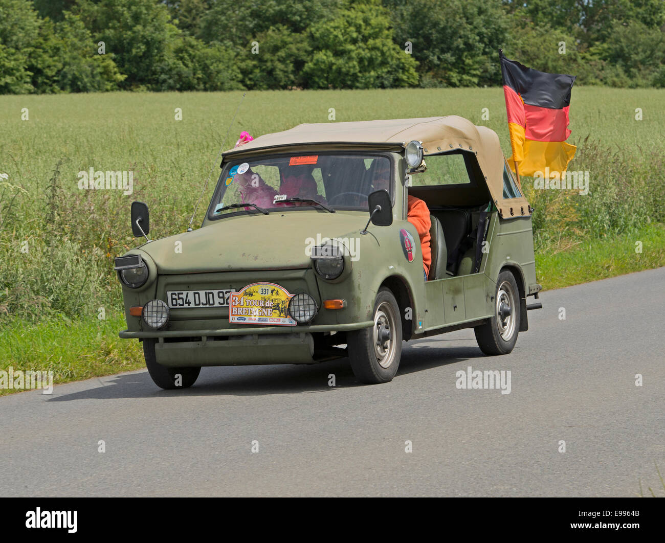Trabant Kubel-Armee RDA Jeep of 1969 in the Tour de Bretagne 2014, France - Stock Image