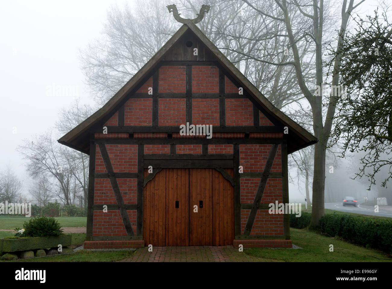 Wood framed garage - Stock Image
