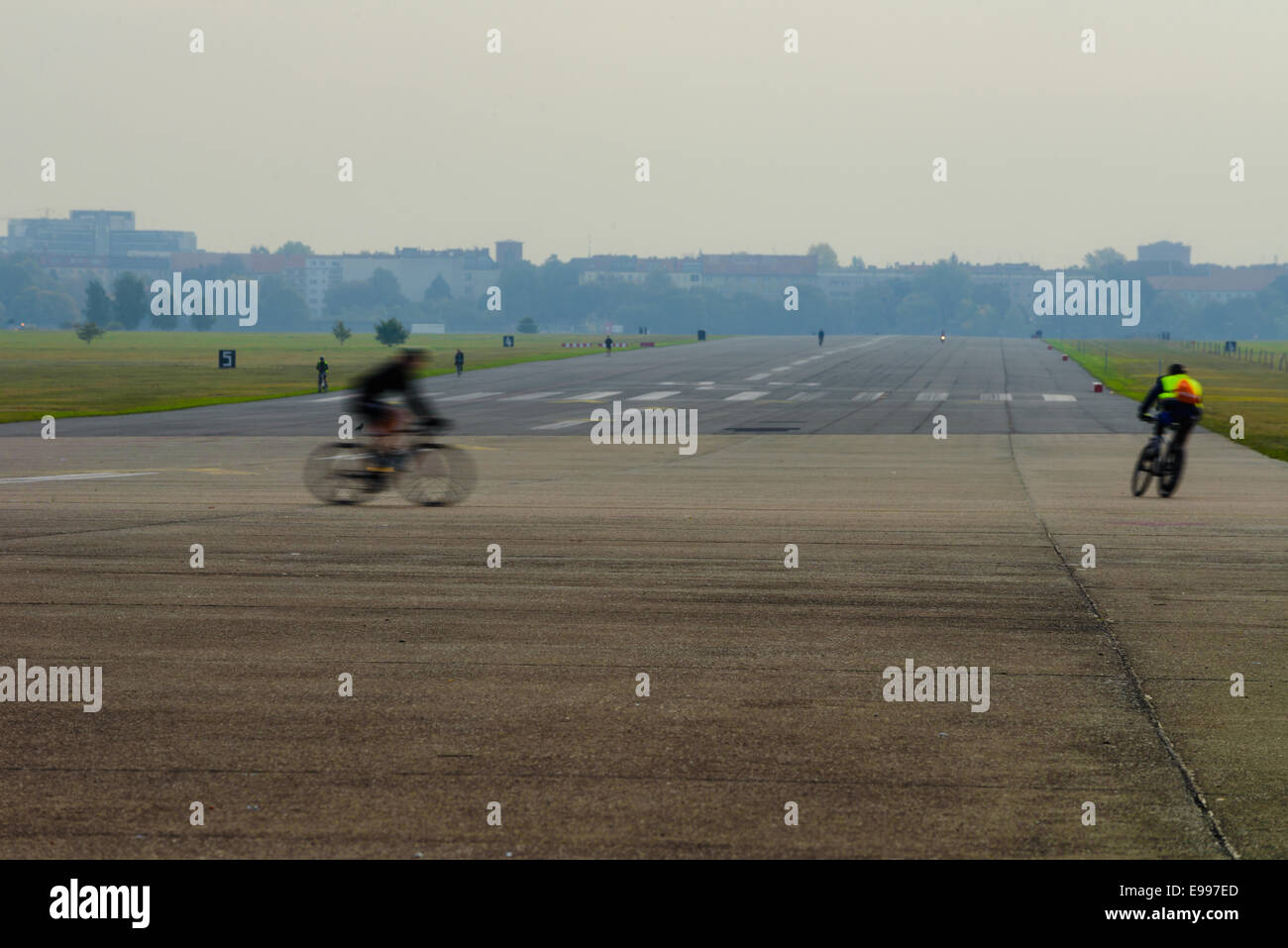 BERLIN - OCTOBER 07 2014. Vacation zone with resting people of Tempelhof airport on October 07, 2014, Berlin, Germany. - Stock Image