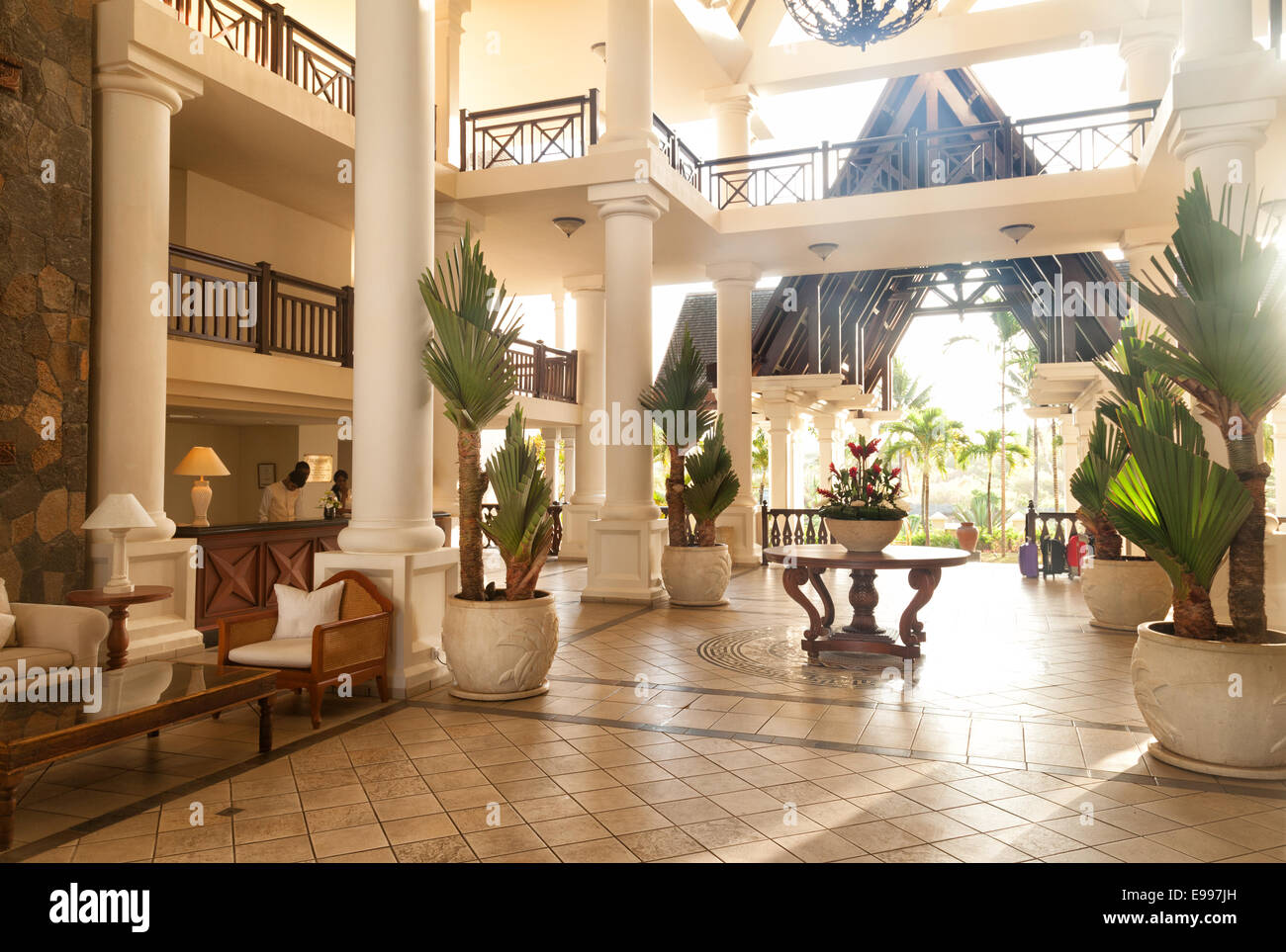 The lobby of the luxury  Residence Hotel, Belle Mare, Mauritius, Africa Stock Photo