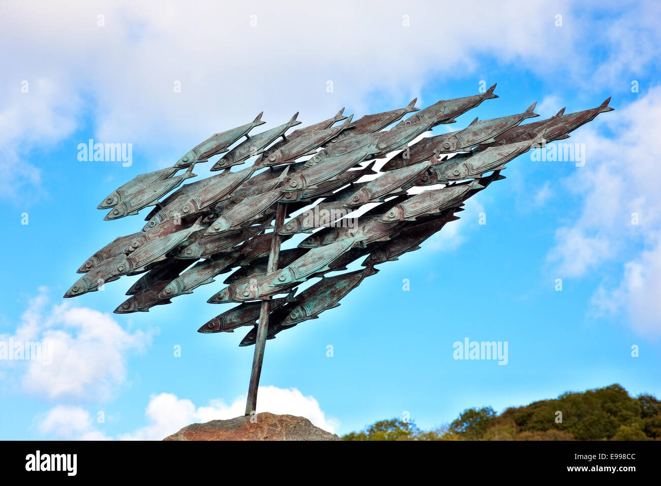 Herring Sculpture by John Cleal at the entrance to the harbour, Lower Fishguard, Pembrokeshire, Wales UK - Stock Image