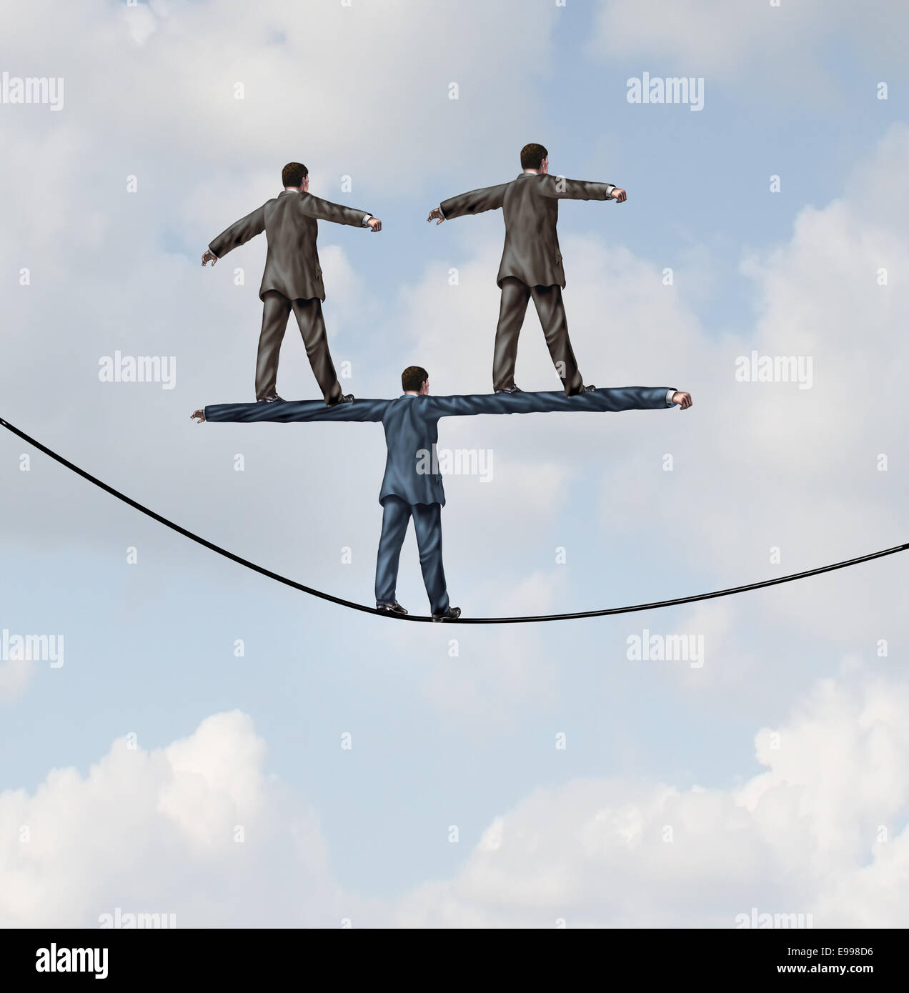 Business people manager concept as a businessman walking on a tight rope with two other businesspeople standing - Stock Image