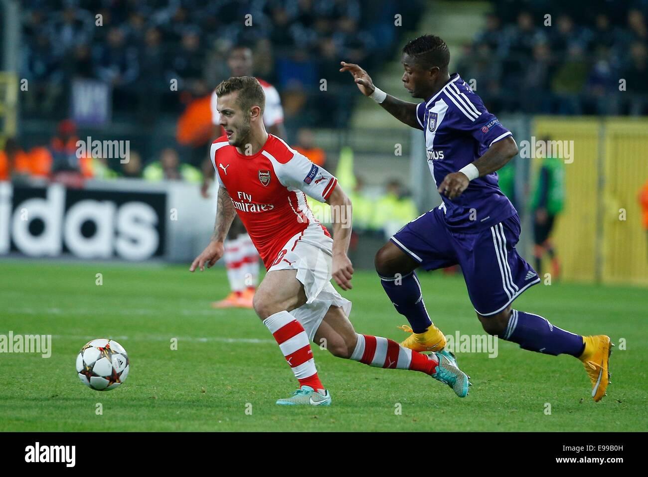 Anderlecht, Belgium. 22nd Oct, 2014. UEFA Champions League football. Anderlecht versus Arsenal. Jack Wilshere of - Stock Image
