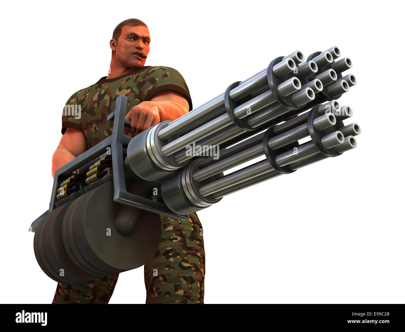 Digital Render Of Cigar Smoking Fantasy Soldier With Huge Gatling Gun Stock Photo Alamy