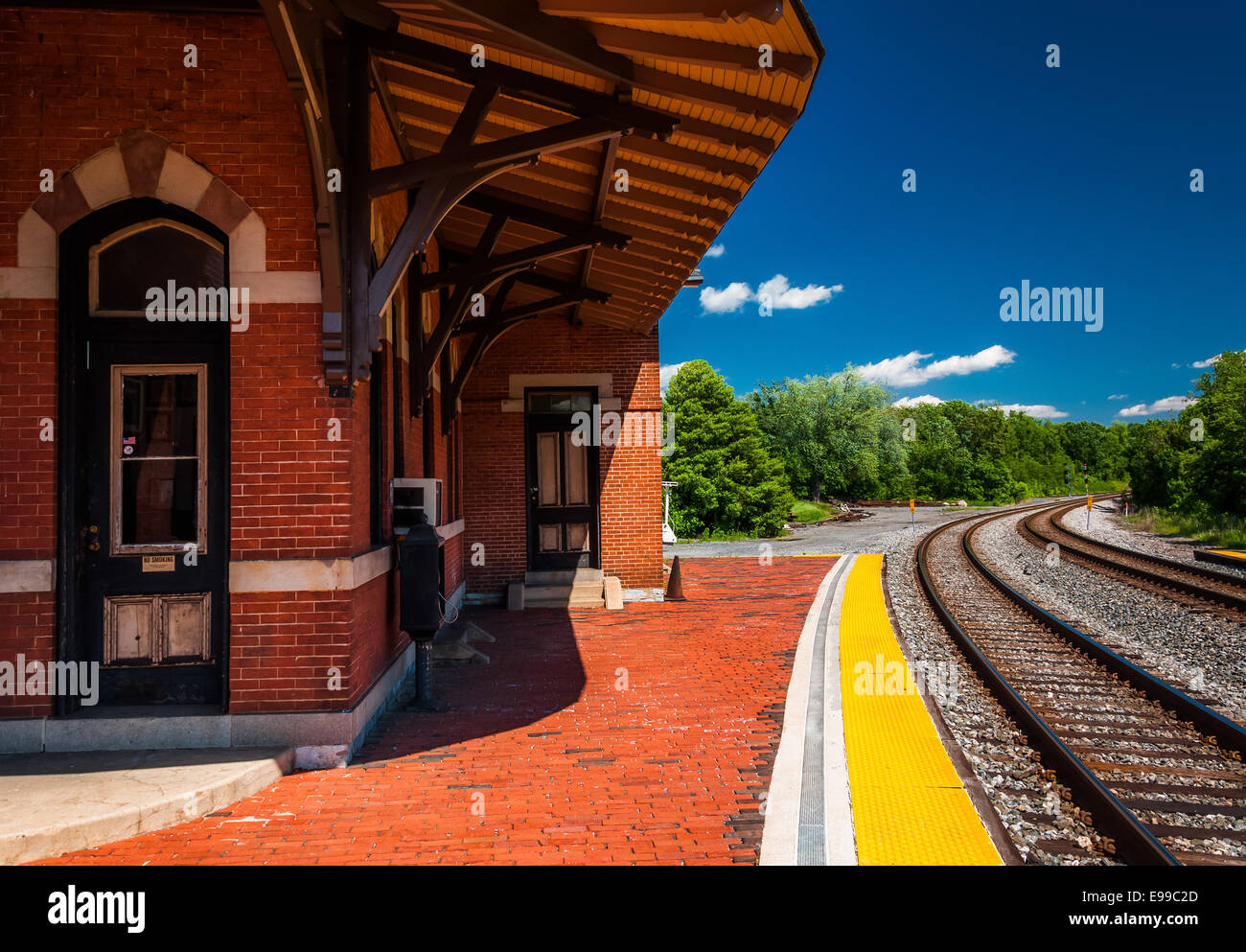 The historic railroad station along train tracks in Point of Rocks, Maryland. Stock Photo