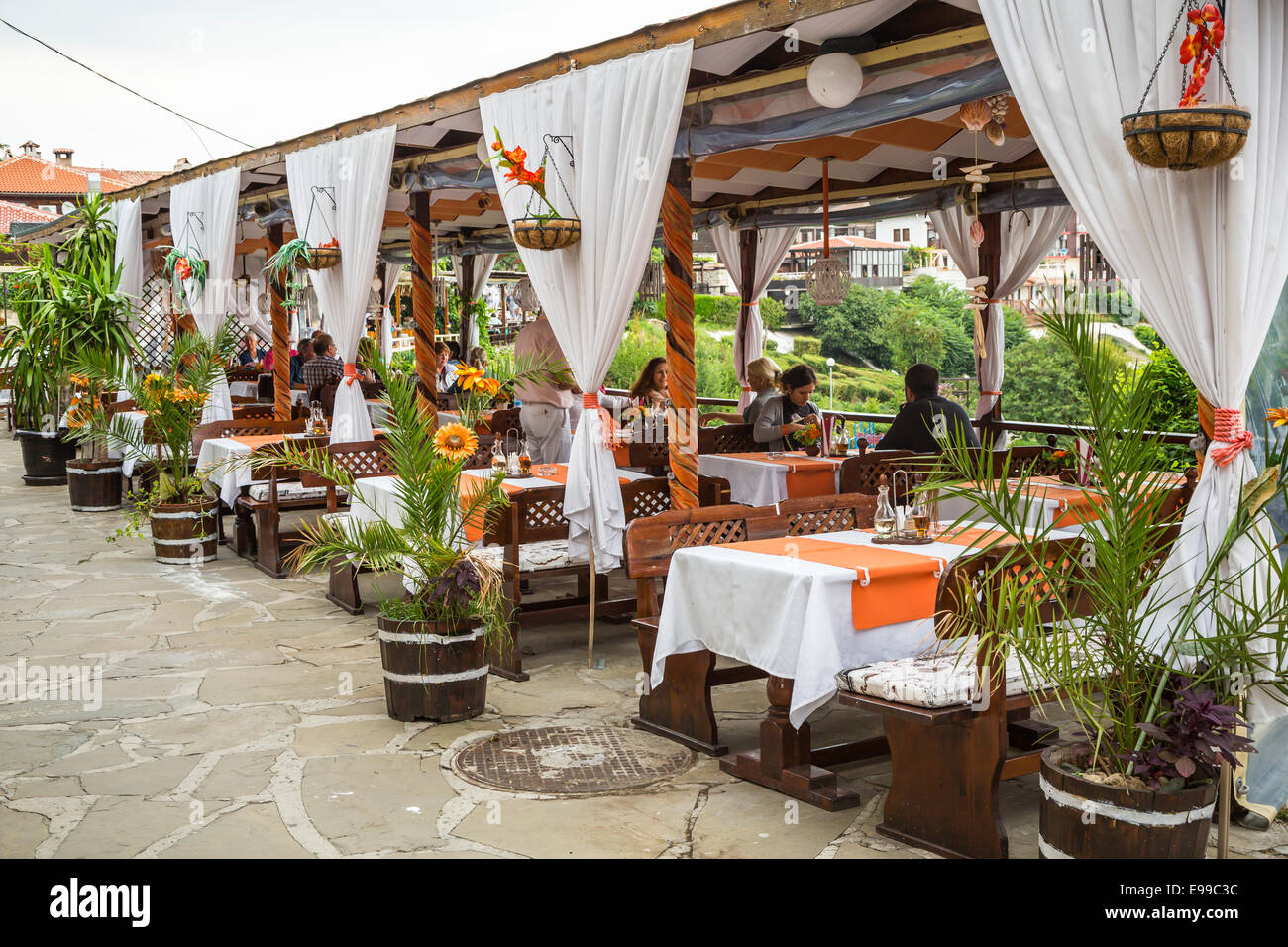 Decor of an outdoor seaside restaurant in nessebar
