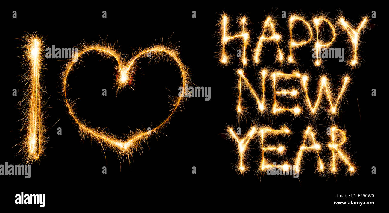 inscription i love happy new year made of sparkles on black background