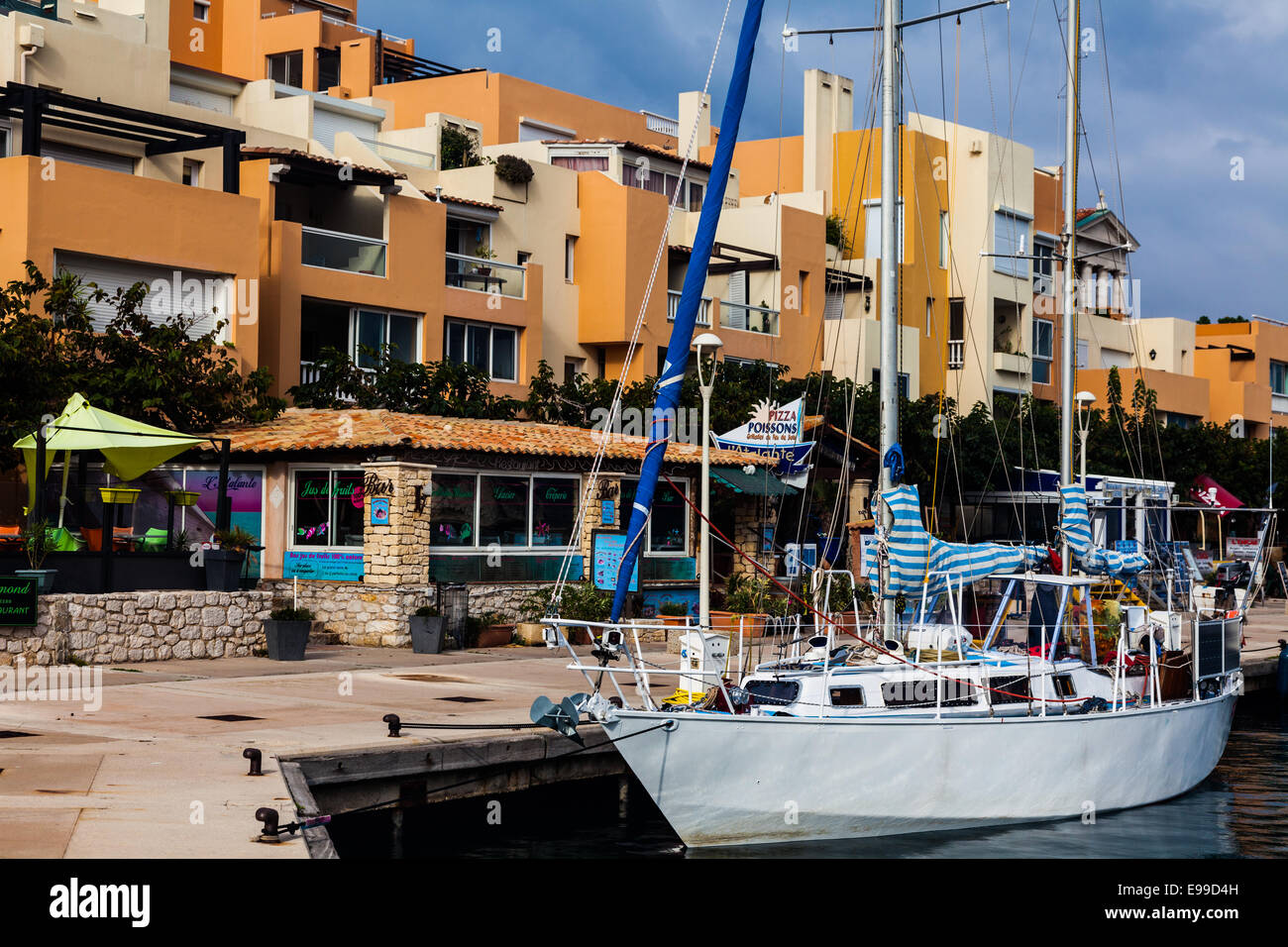 Sailing boat docked in Port Frioul, near Marseille, France. - Stock Image