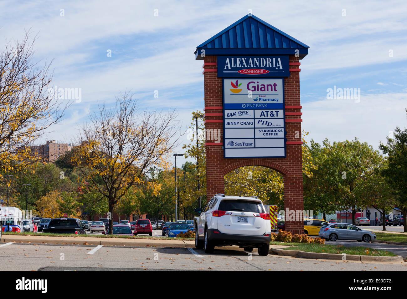 Strip mall  sign - Virginia USA - Stock Image