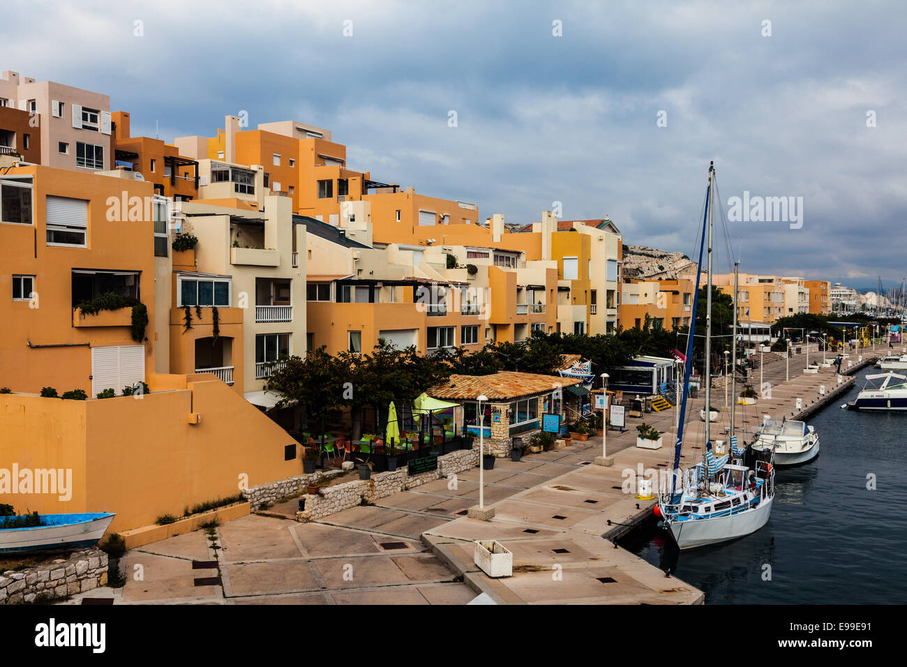 Overview of Port Frioul on the island of Ratonneau, near Marseille. - Stock Image