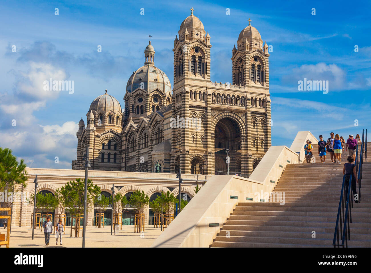 Stairs leading to the Cathedral Major in Marseille - Stock Image