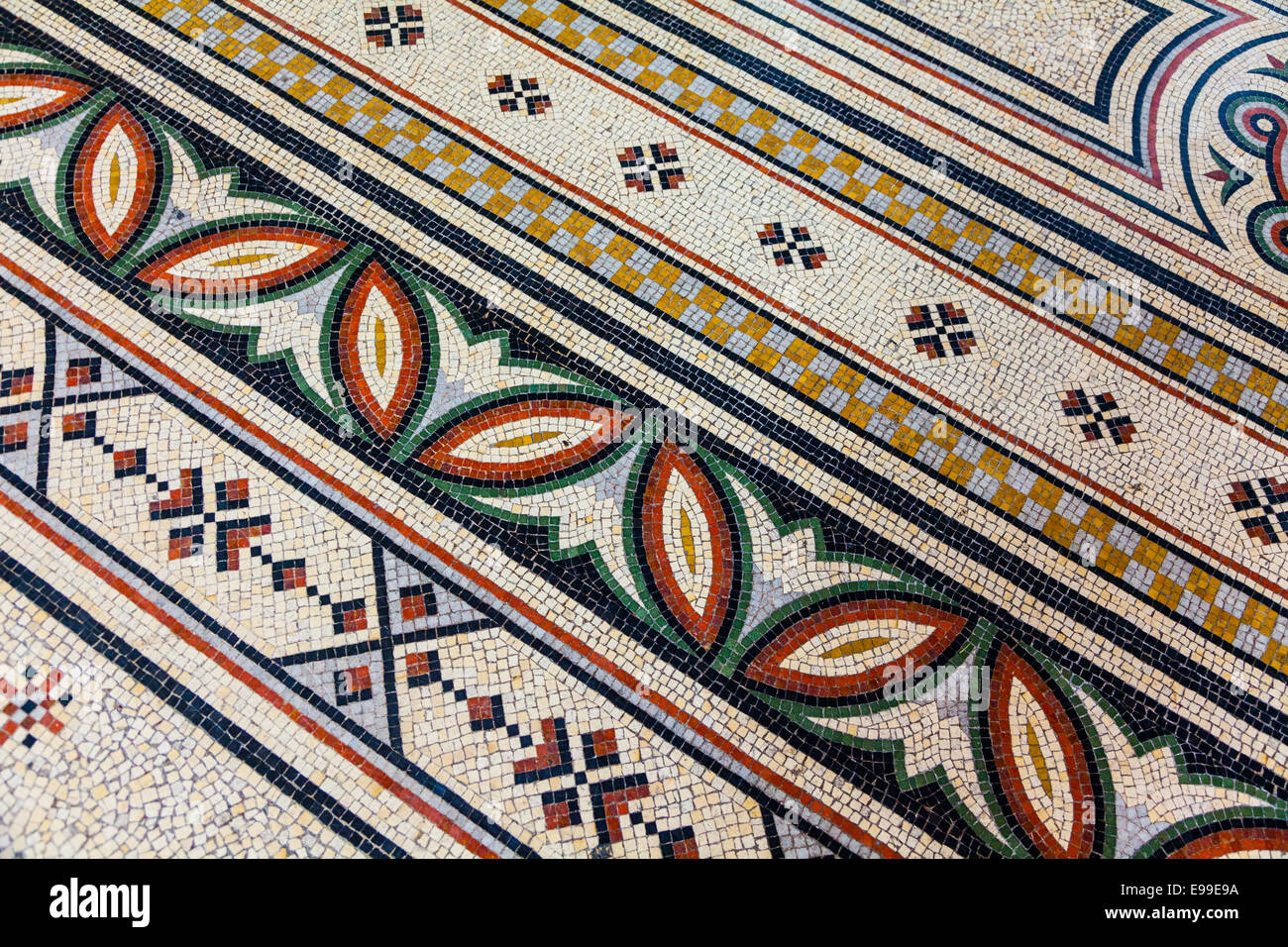 Abstract example of mosaic flooring in the Cathedreal Major, Marseille, France. - Stock Image
