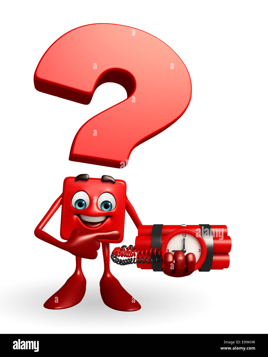 Cartoon Character of Question Mark with time Bomb - Stock Image