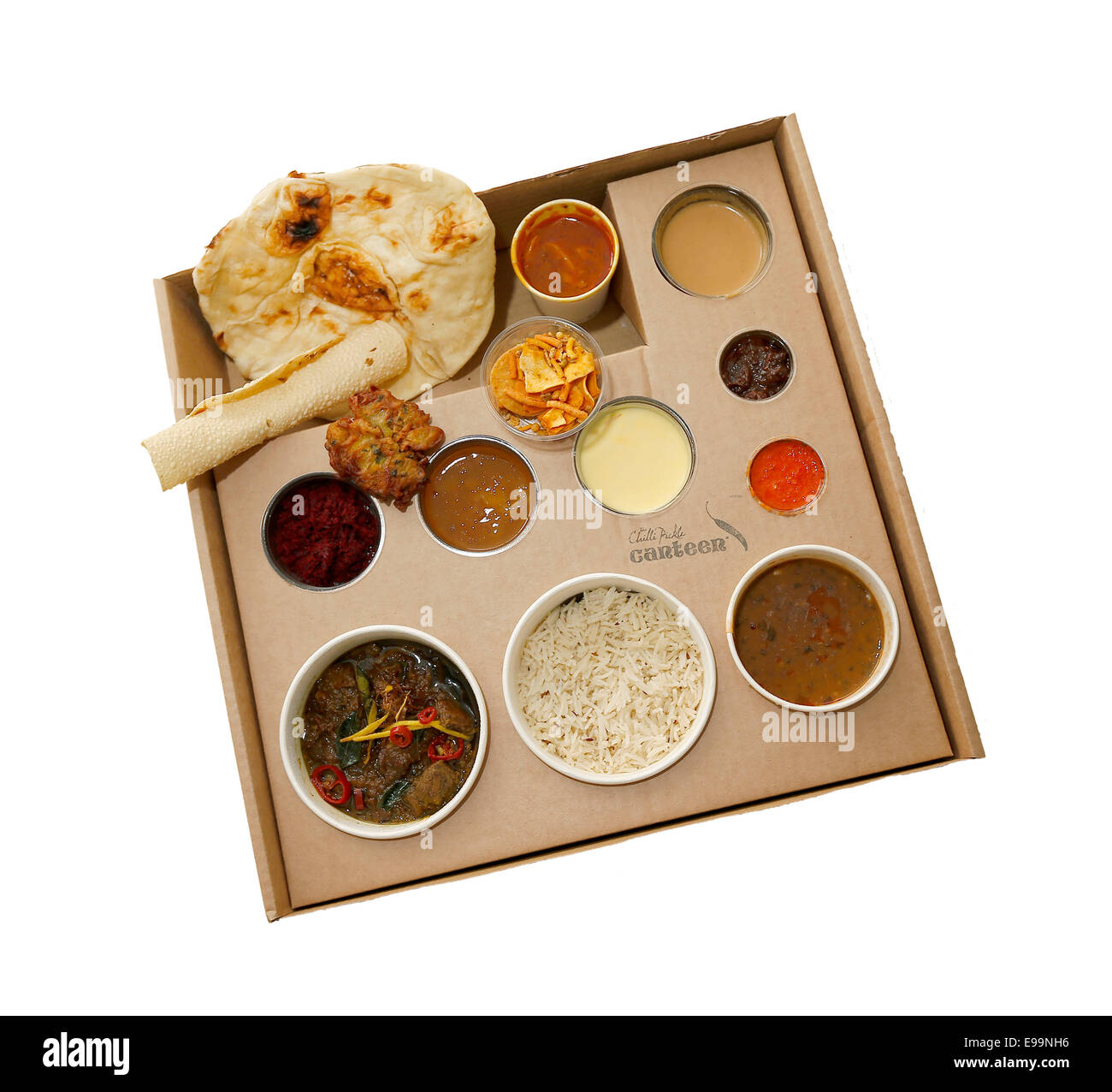 Takeaway Indian Thali Meal from The Chilli Pickle Canteen in Brighton. - Stock Image