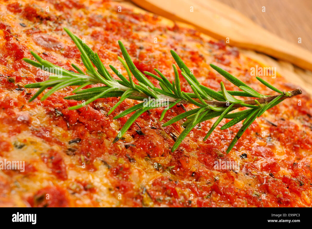 closeup of a barbecue pizza, with mozzarella, ground beef and barbecue sauce - Stock Image