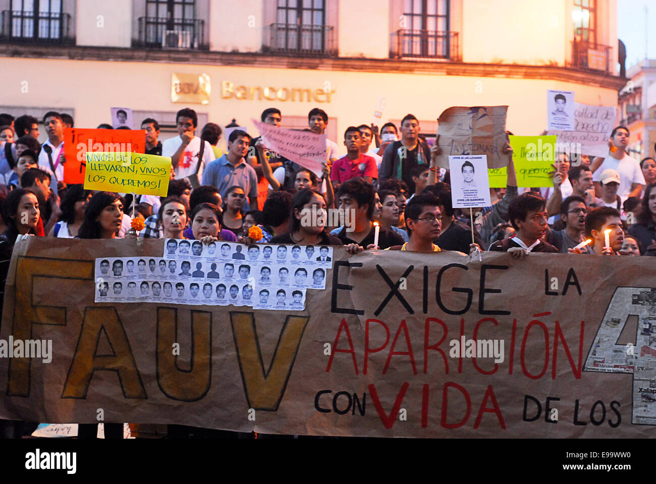 Guerrero, Mexico. 22nd Oct, 2014. Veracruz students took to the streets to demand the return of the 43 missing students Stock Photo