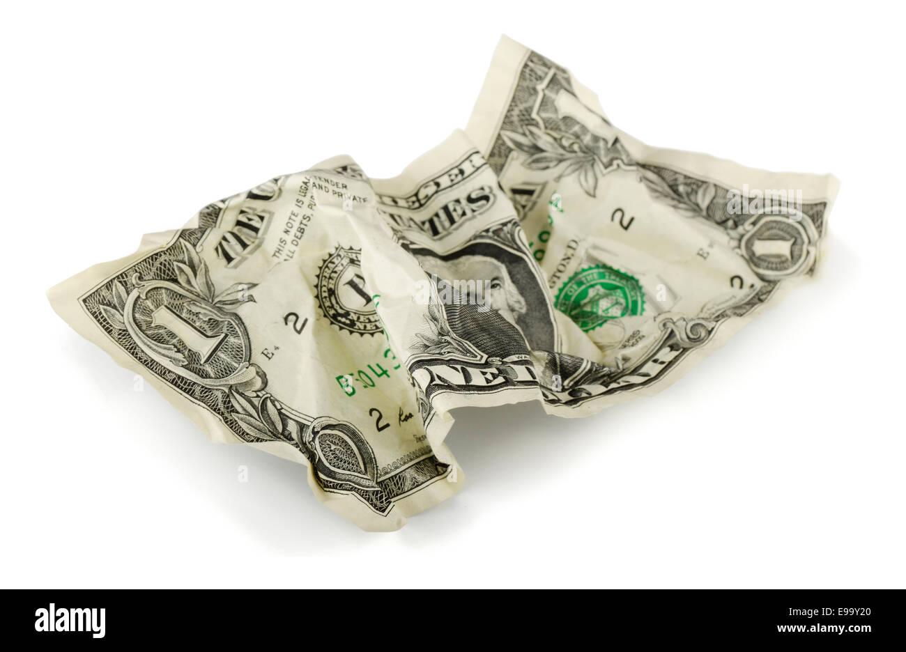 Crumpled dollar - Stock Image