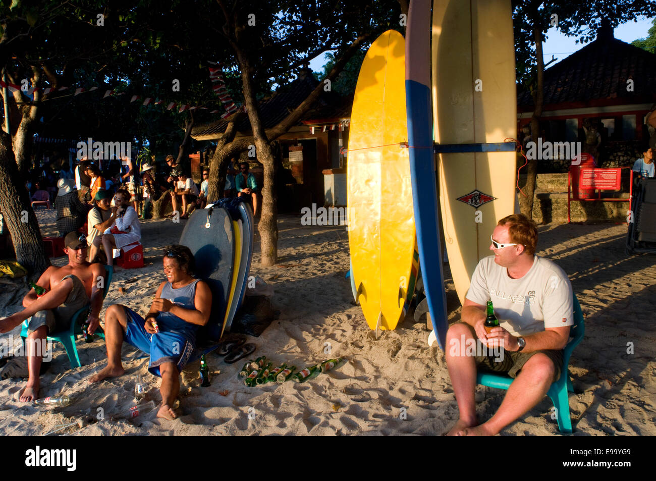 Beach of Kuta at sunset. Surfing lessons. Bali. Kuta is a coastal town in the south of the island of Lombok in Indonesia. Stock Photo