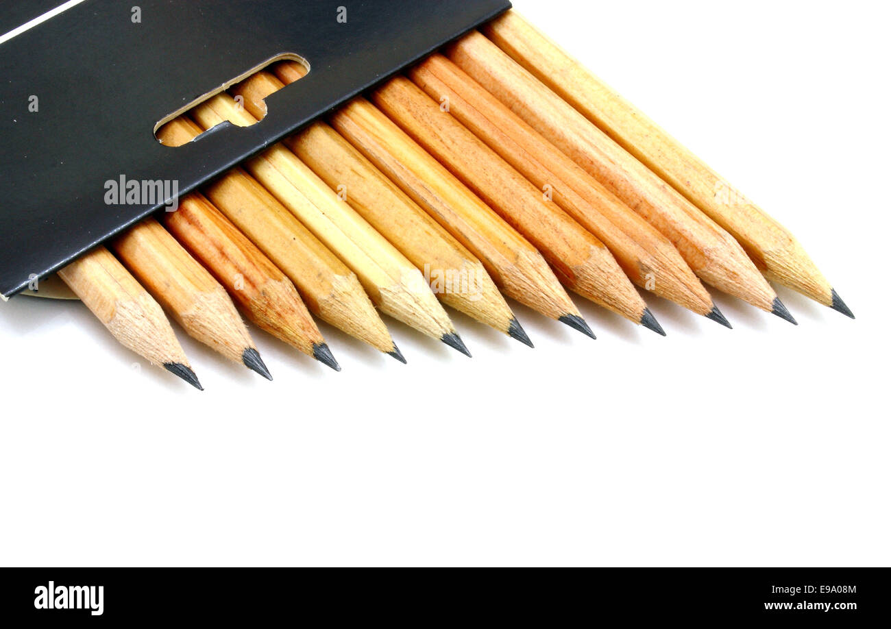The yellow ground pencils in a black box - Stock Image