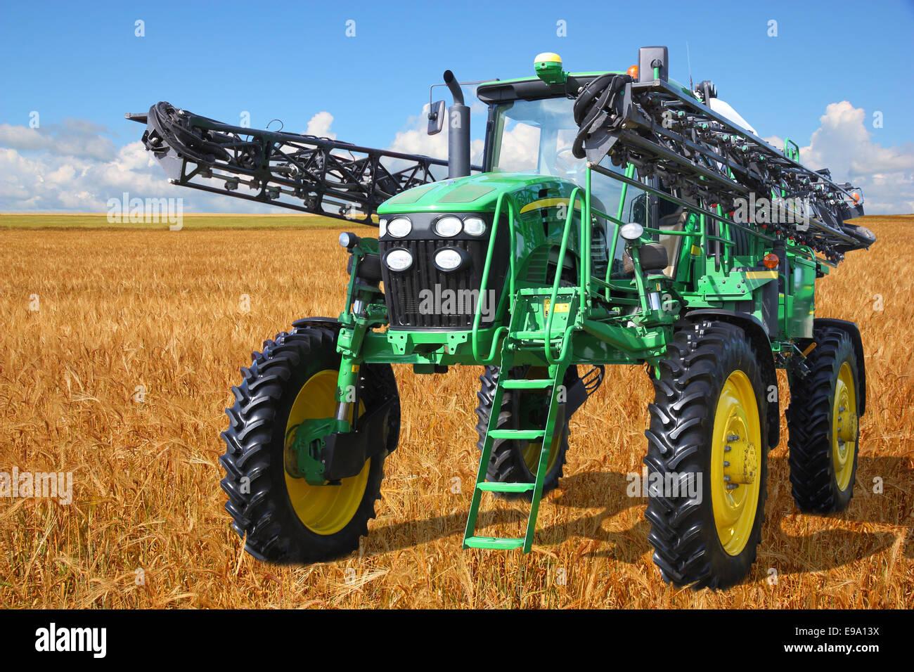tractor sprayer - Stock Image