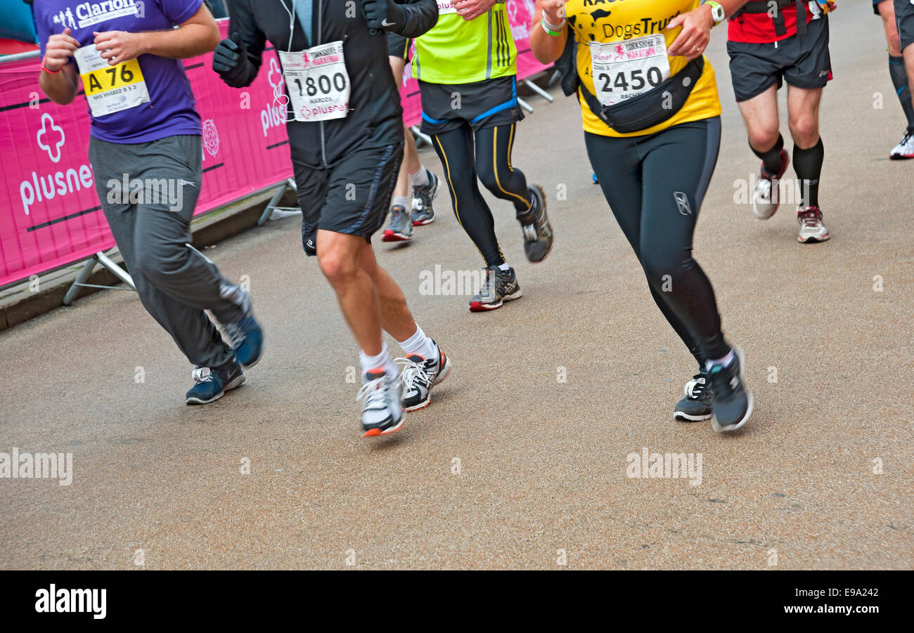 Legs of runners in the Yorkshire Marathon York North Yorkshire England UK United Kingdom GB Great Britain - Stock Image