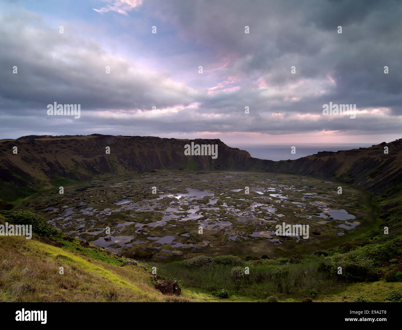 View of the crater of an extinct volcano on Easter Island, Chile, Latin America. - Stock Image